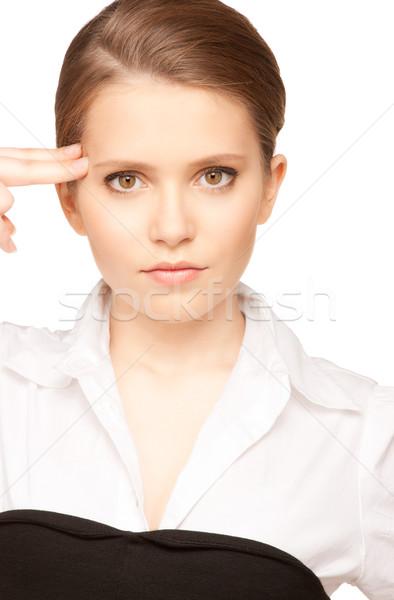 Kadın intihar jest parlak resim Stok fotoğraf © dolgachov