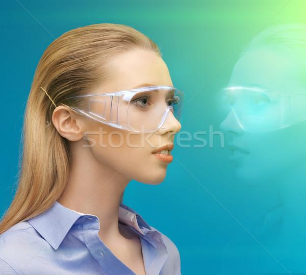 Kadın 3d gözlük hologram resim iş eğitim Stok fotoğraf © dolgachov
