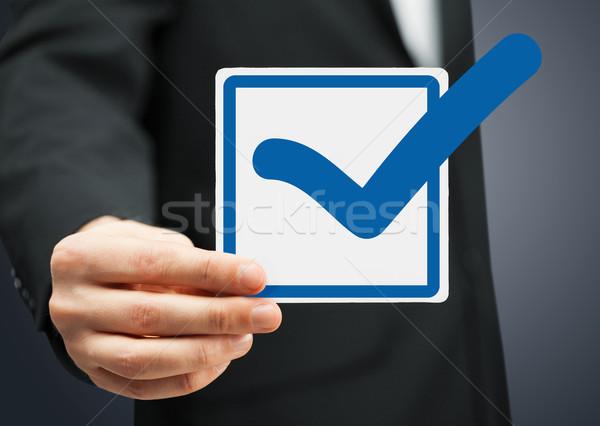 Közelkép jelölőnégyzet kék osztályzat kép papír Stock fotó © dolgachov