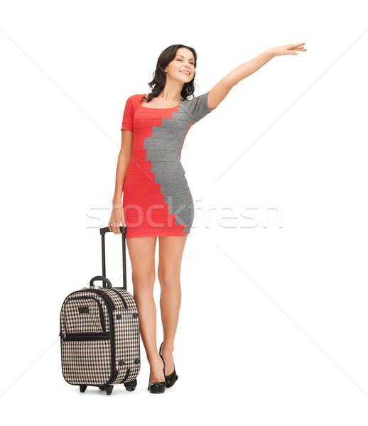 smiling woman with suitcase Stock photo © dolgachov