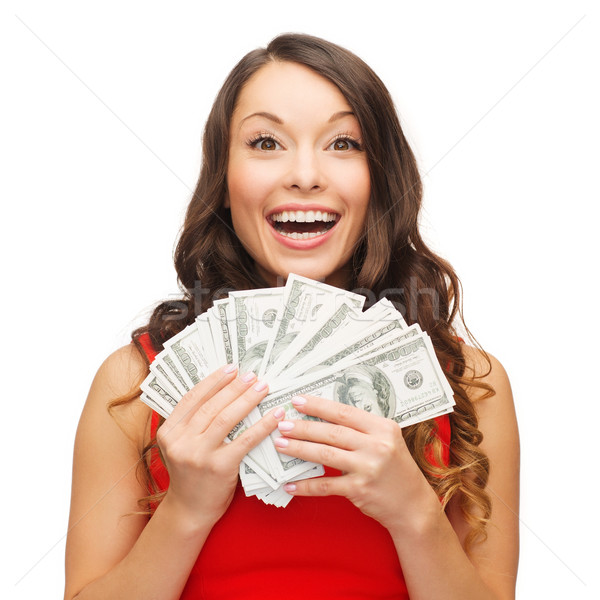 woman in red dress with us dollar money Stock photo © dolgachov