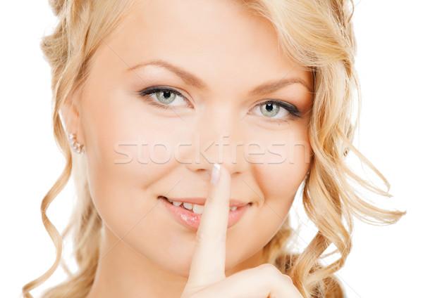 Kadın parmak dudaklar iş iletişim resim Stok fotoğraf © dolgachov