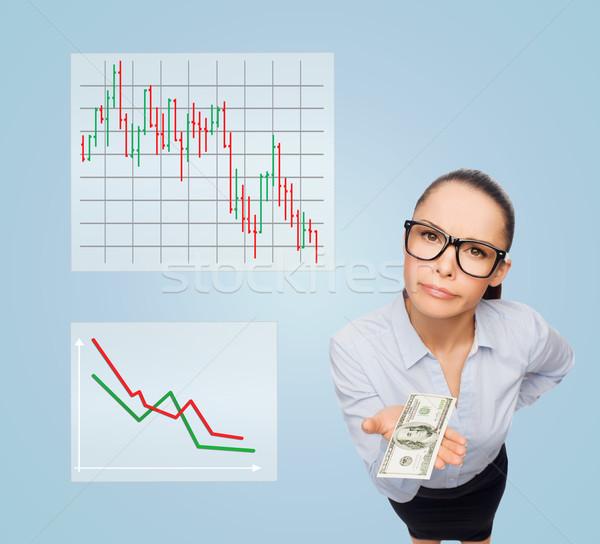 Mosolyog üzletasszony dollár pénz pénz üzlet Stock fotó © dolgachov