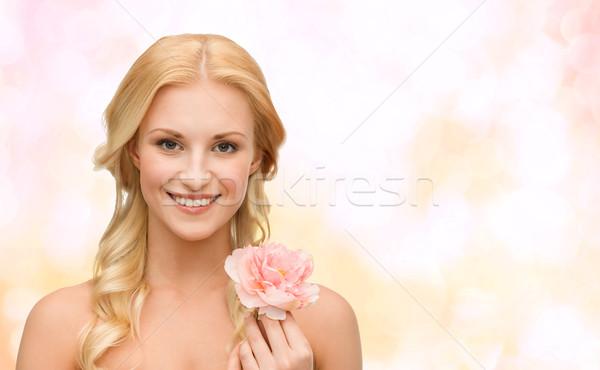 Stock fotó: Mosolygó · nő · virág · szépség · virágmintás · fényes · kép