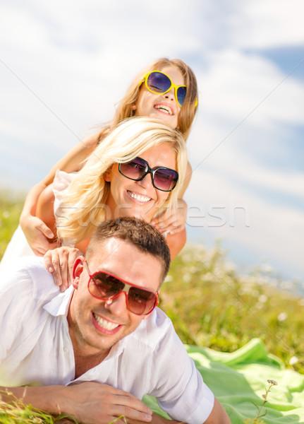 Stock fotó: Mosolyog · család · napszemüveg · pléd · nyár · ünnepek