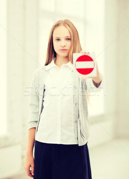 Kız dur işareti eğitim okul öğrenci Stok fotoğraf © dolgachov