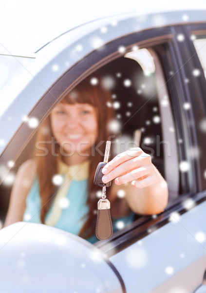 close up of smiling woman with car key outdoors Stock photo © dolgachov