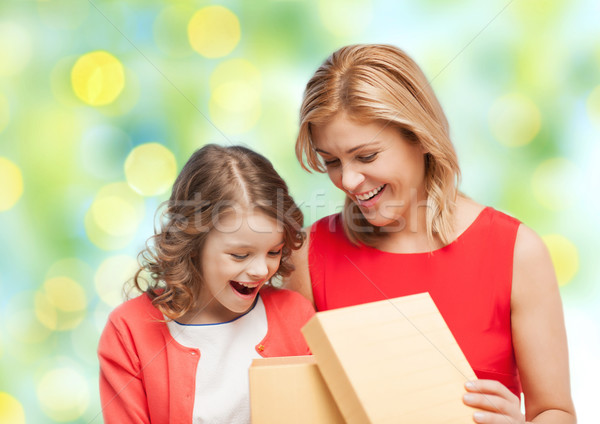 happy mother and daughter opening gift box Stock photo © dolgachov