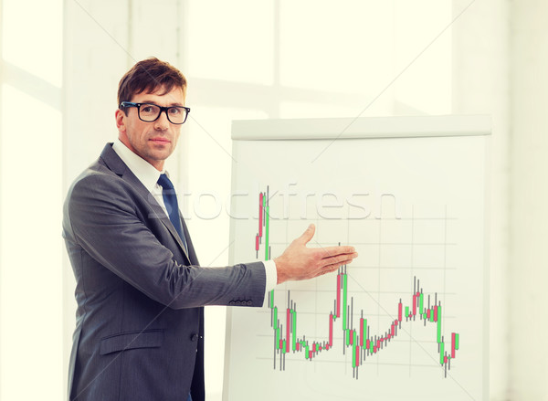 Stock photo: man pointing to flip board with forex chart