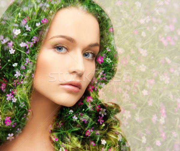 Fiatal gyönyörű nő virágmintás minta szépség emberek Stock fotó © dolgachov