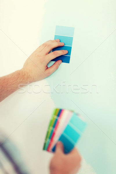 close up of male wit color pallets Stock photo © dolgachov