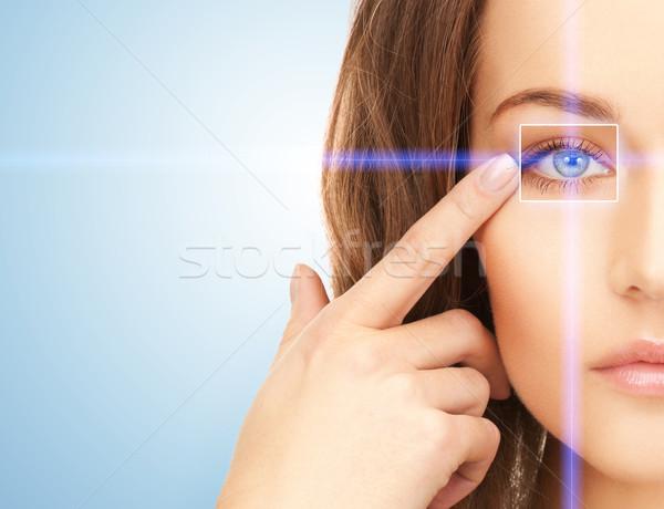 красивая женщина указывая глаза фотография женщину лице Сток-фото © dolgachov