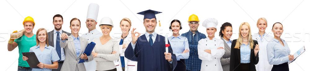 Feliz soltero diploma profesionales personas profesión Foto stock © dolgachov