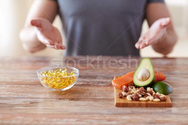 Masculino mãos comida rico proteína Foto stock © dolgachov