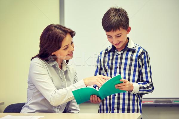 школьник ноутбук учитель классе образование Сток-фото © dolgachov