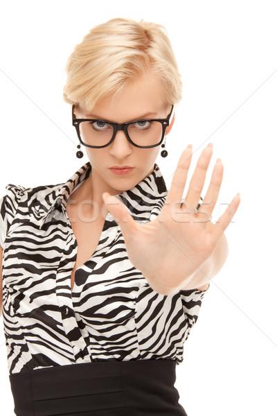 Pare brilhante quadro mulher jovem gesto Foto stock © dolgachov