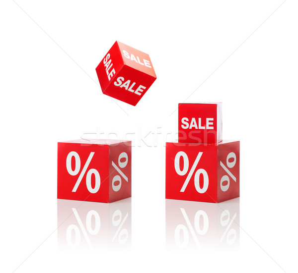 set of boxes with sale and percent sign Stock photo © dolgachov