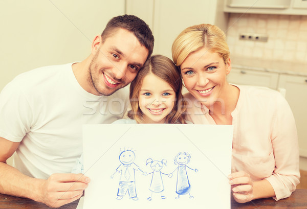 happy family drawing at home Stock photo © dolgachov