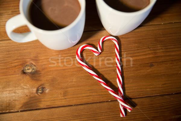 Photo stock: Noël · bonbons · table · en · bois · vacances · hiver