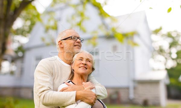 Stock fotó: Idős · pár · ölel · élet · ház · család · kor