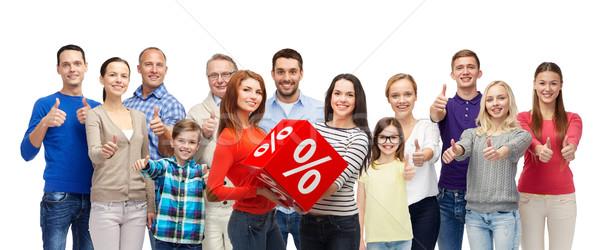 幸せな人々  赤 パーセンテージ にログイン ストックフォト © dolgachov