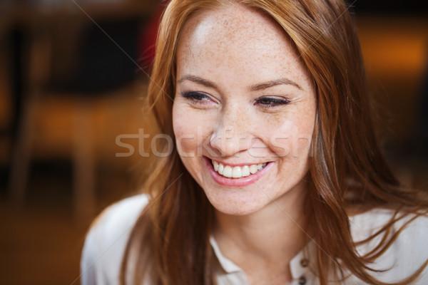 Gülen mutlu genç kadın yüzü kadın Stok fotoğraf © dolgachov