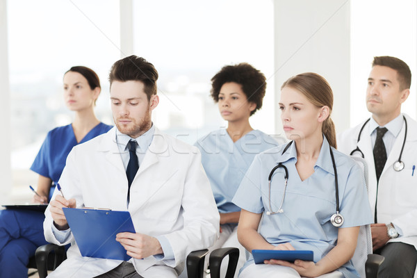 Grupy szczęśliwy lekarzy seminarium szpitala zawód Zdjęcia stock © dolgachov