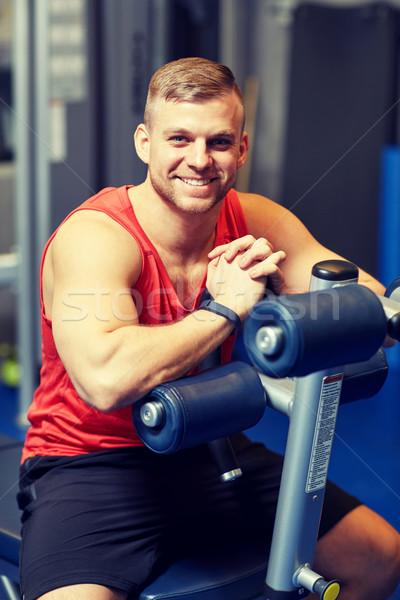 Stockfoto: Glimlachend · man · vergadering · oefening · bank · gymnasium