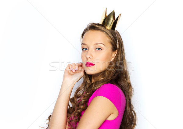 Mulher jovem menina adolescente rosa vestir pessoas férias Foto stock © dolgachov