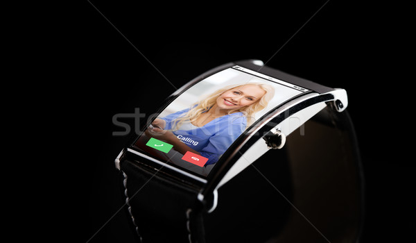 close up of smart watch with incoming call Stock photo © dolgachov