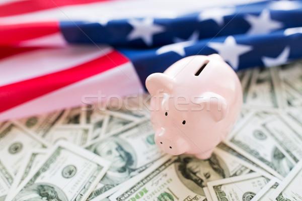 Amerikaanse vlag spaarvarken geld budget financieren Stockfoto © dolgachov