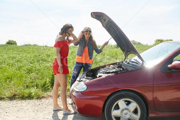Frauen öffnen kaputtes Auto Landschaft Straße Reise Stock foto © dolgachov