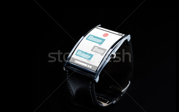 close up of smart watch with messenger application Stock photo © dolgachov