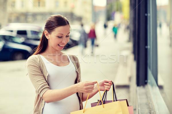 счастливым беременная женщина город беременности материнство Сток-фото © dolgachov