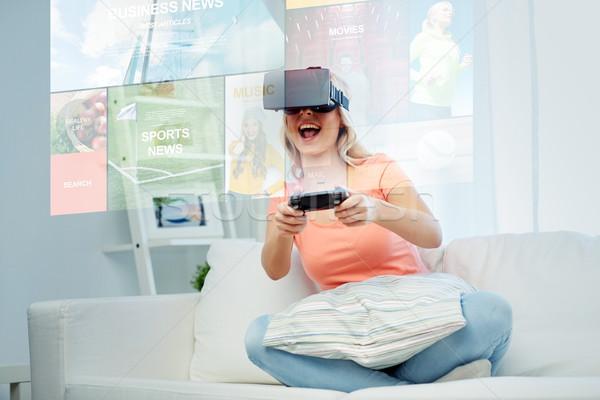 ストックフォト: 女性 · バーチャル · 現実 · ヘッド · 3D · 技術
