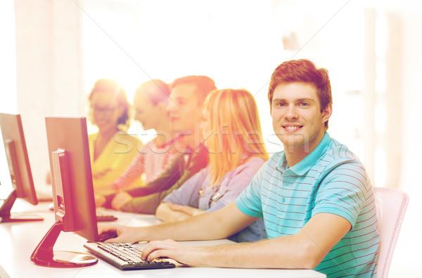 мужчины студент Одноклассники компьютер класс образование Сток-фото © dolgachov