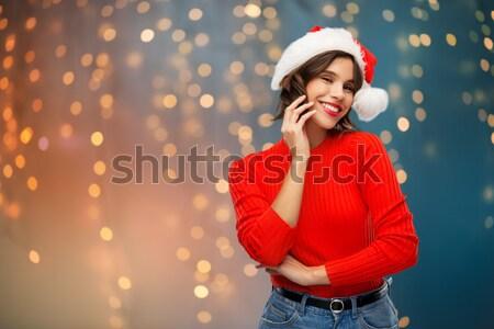 Güzel seksi kadın şapka kırmızı elbise insanlar Stok fotoğraf © dolgachov