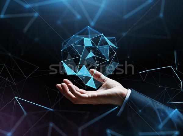 Közelkép üzletember kéz hologram üzletemberek kibertér Stock fotó © dolgachov