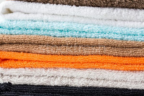 close up of stacked bath towels Stock photo © dolgachov