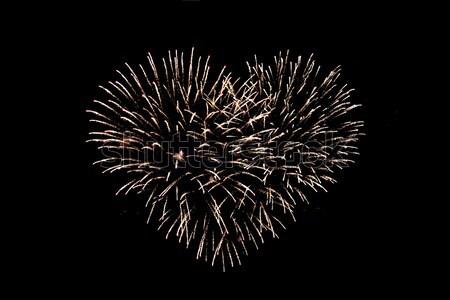 Cuore fuochi d'artificio notte vacanze celebrazione Foto d'archivio © dolgachov