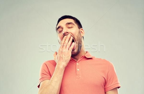 Hombre gris personas cansado mano Foto stock © dolgachov