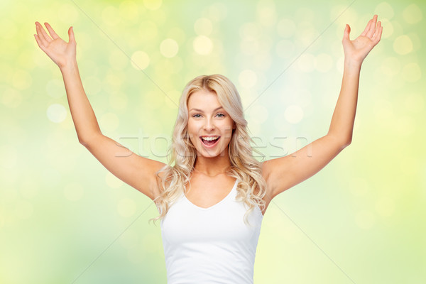 Szczęśliwy młoda kobieta zwycięstwo emocje Zdjęcia stock © dolgachov