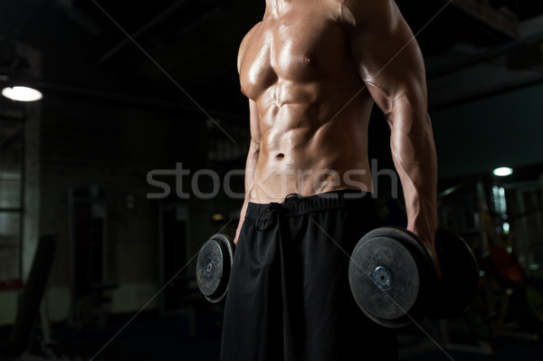 Stok fotoğraf: Adam · dambıl · egzersiz · spor · salonu · spor