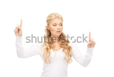 Zakenvrouw werken iets denkbeeldig foto business Stockfoto © dolgachov