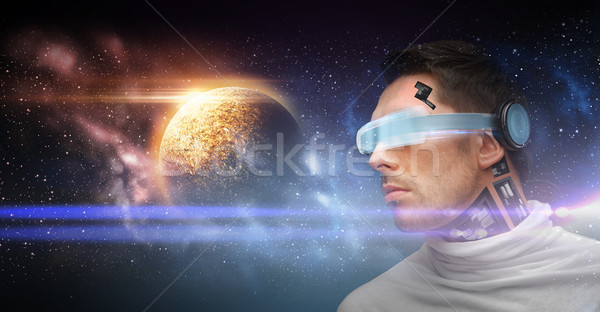 Männlich Roboter 3D-Brille Raum Zukunft Technologie Stock foto © dolgachov
