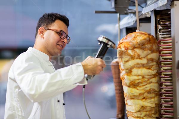 şef et tükürmek kebap alışveriş Stok fotoğraf © dolgachov