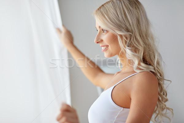 Vrouw ondergoed venster ochtend mensen mooie Stockfoto © dolgachov