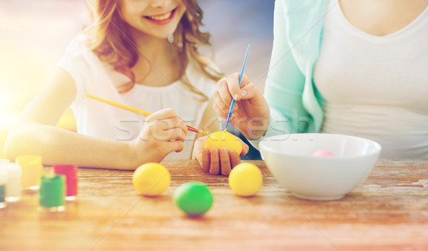 daughter and mother coloring easter eggs Stock photo © dolgachov