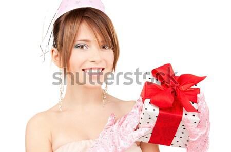 Stok fotoğraf: Mutlu · kadın · hediye · kutusu · beyaz · gülümseme · doğum · günü