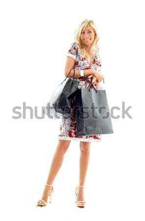 Shopping signora fiocchi di neve moda Foto d'archivio © dolgachov